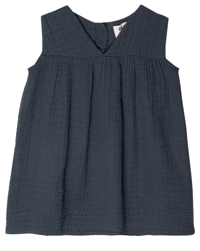 Little go gently nation girl gauze frock in indigo