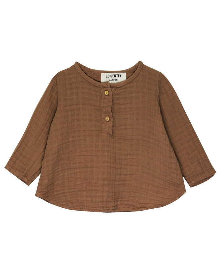 Little go gently nation girl gauze placket top in hazelnut