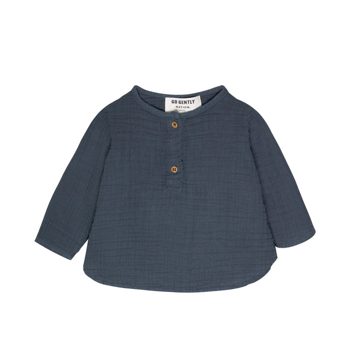 Little go gently nation girl gauze placket top in indigo