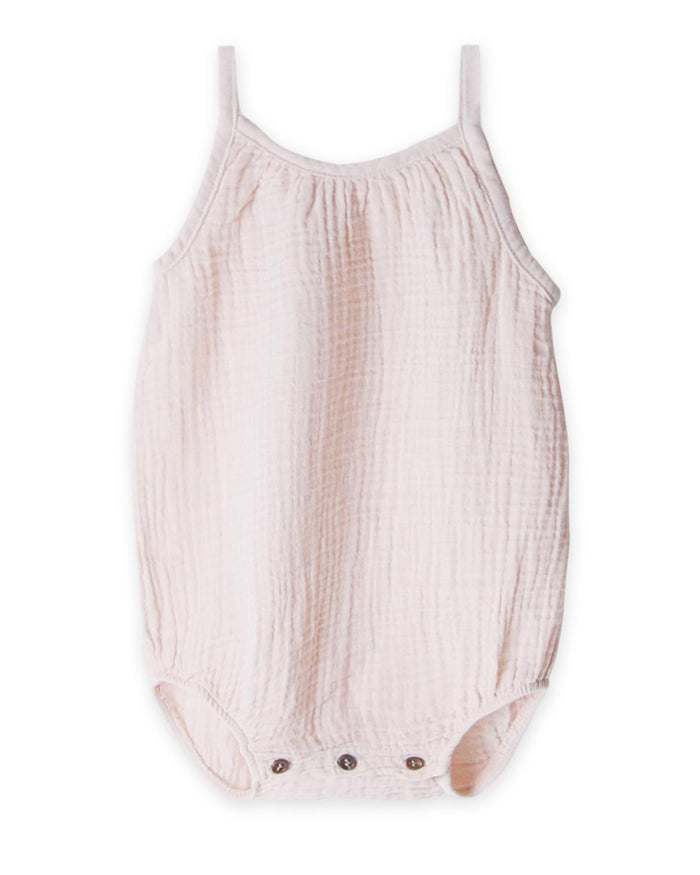 Little go gently nation baby girl 0-3 gauze romper in oatmeal
