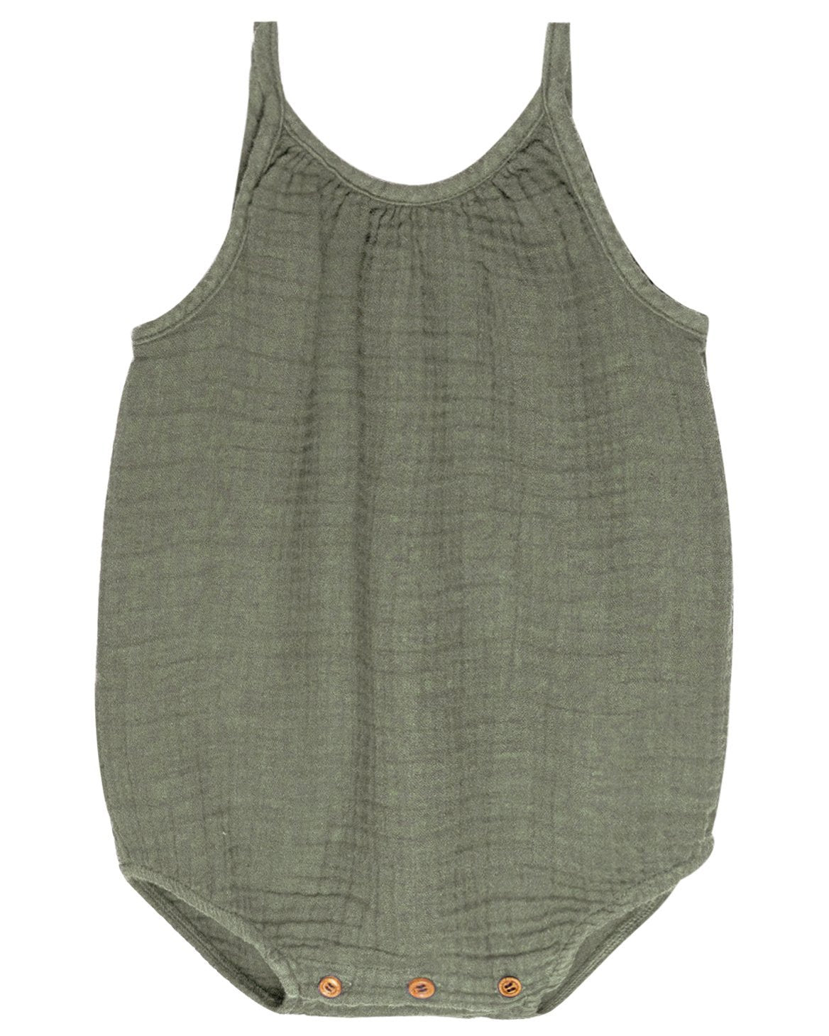 Little go gently nation baby girl gauze romper in thyme