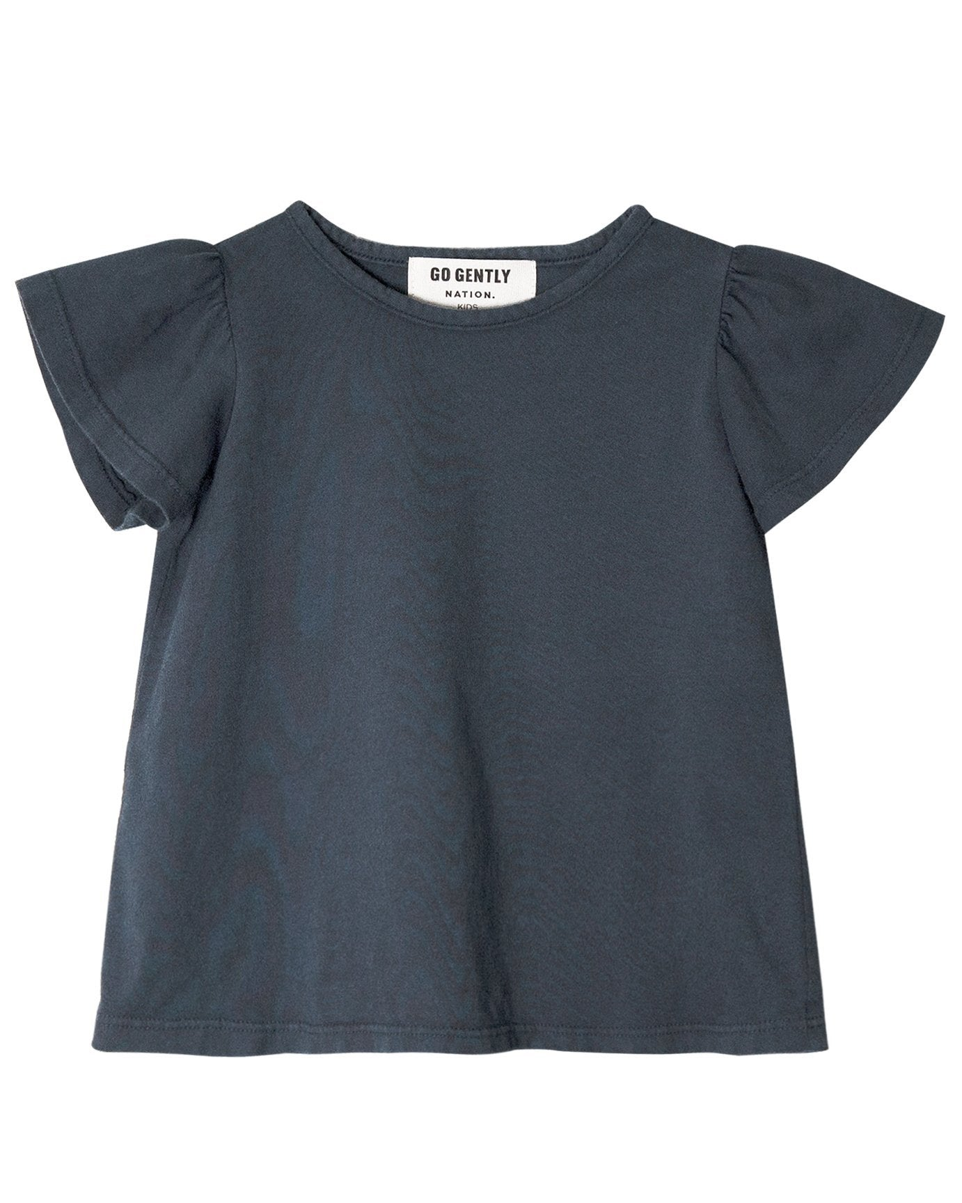 Little go gently nation girl jersey flutter tee in indigo