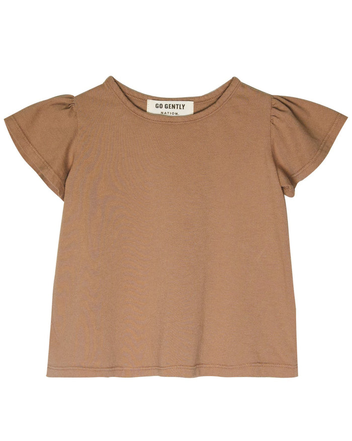 Little go gently nation girl jersey flutter tee in tanin