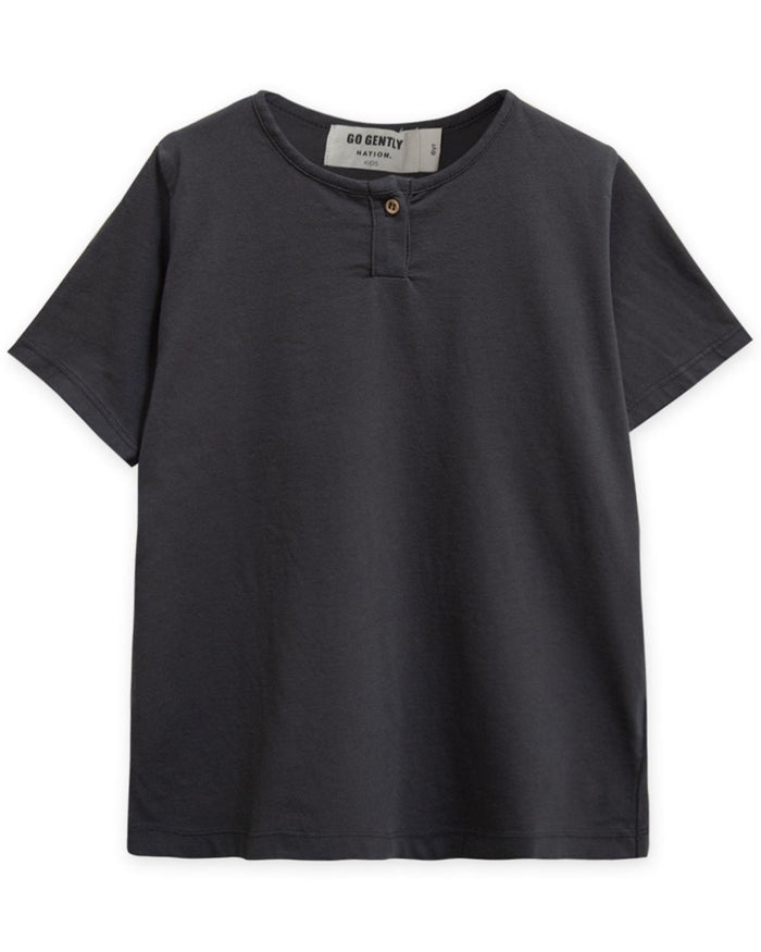 Little go gently nation boy 2 jersey henley in charcoal