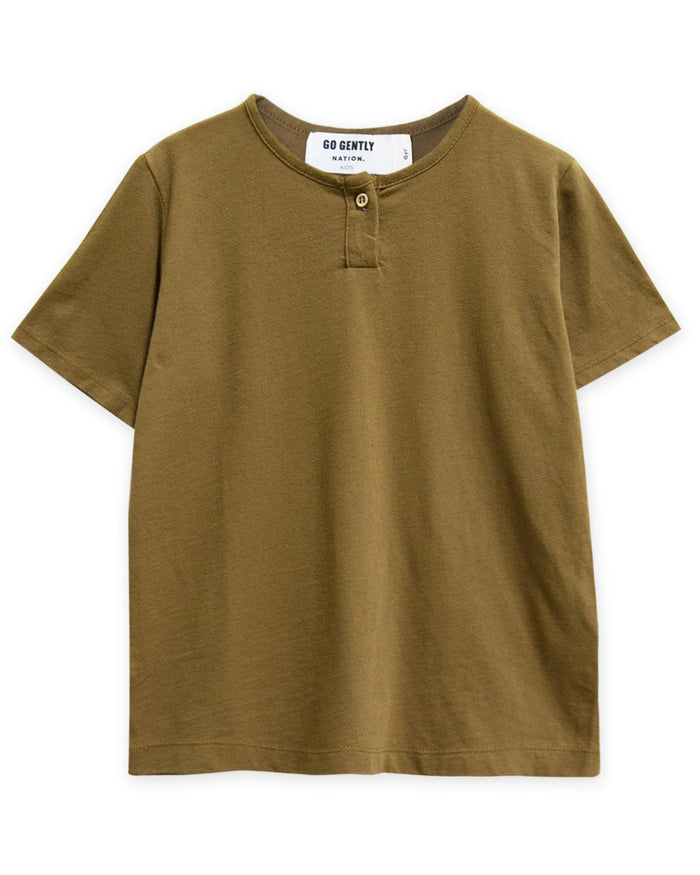 Little go gently nation boy 2 jersey henley in fennel