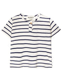 Little go gently nation girl jersey henley in navy + natural stripe