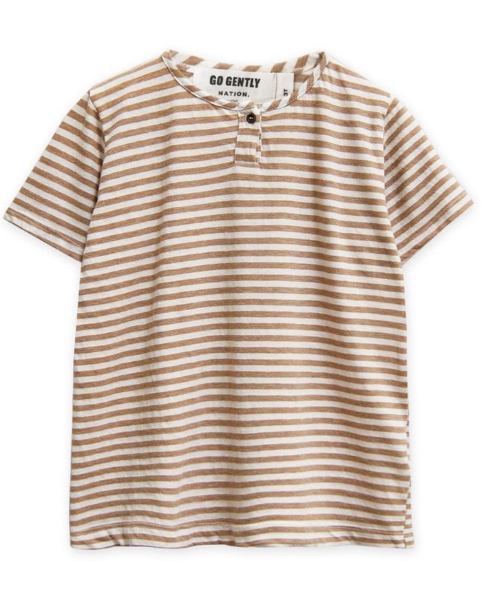 Little go gently nation boy 3-6 jersey henley in tan stripe