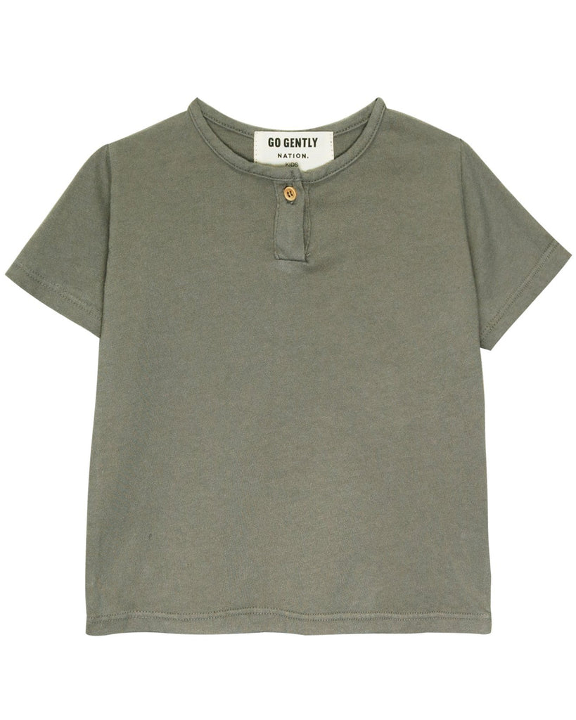 Little go gently nation girl jersey henley in thyme