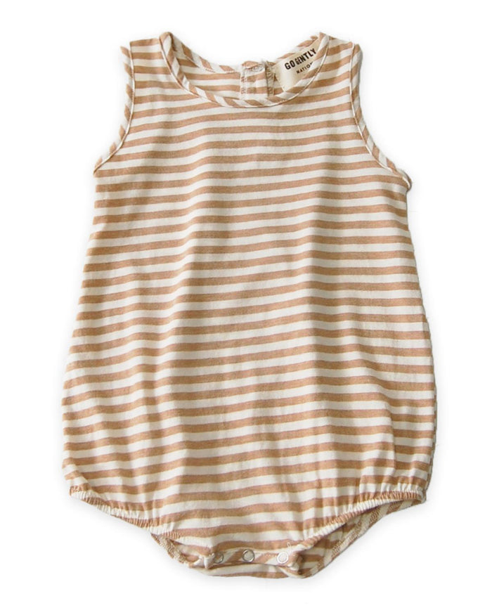 Little go gently nation baby boy 0-3 jersey onesie in tan stripe
