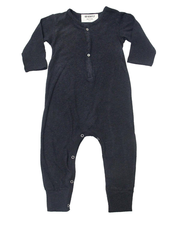 Little go gently nation baby boy 2 jersey playsuit in coal