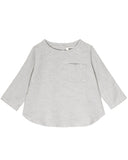 Little go gently nation girl long sleeve woven top in gray