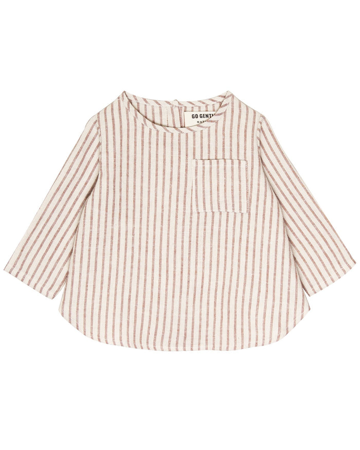 Little go gently nation girl long sleeve woven top in hazelnut stripe