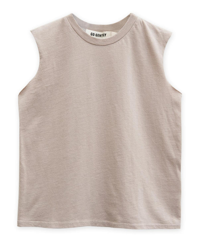 Little go gently nation boy 2 muscle tank in sandstone