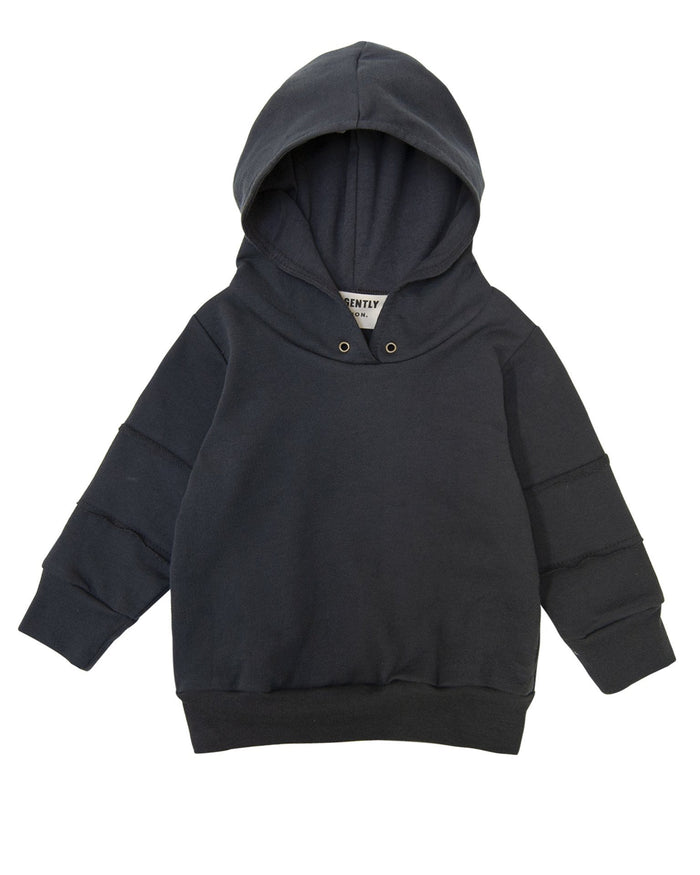 Little go gently nation boy panel hoodie in charcoal