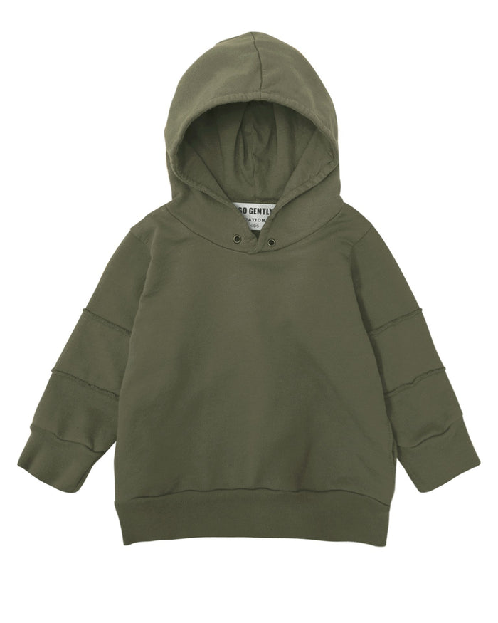Little go gently nation boy panel hoodie in moss