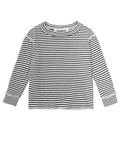 Little go gently nation boy rib thermal in navy stripe