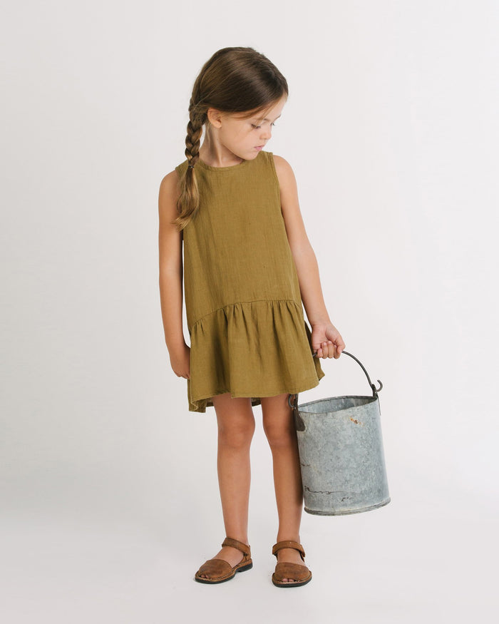 Little go gently nation girl 2 ruffle hem dress in fennel