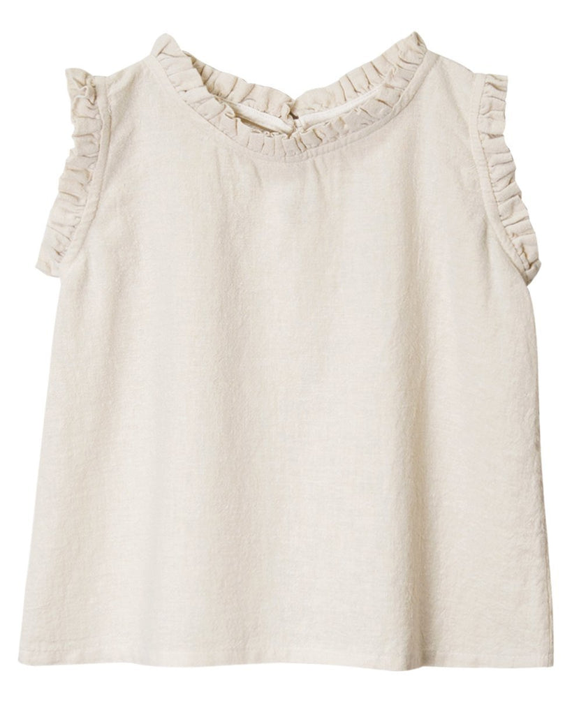 Little go gently nation girl ruffle neck tank in natural