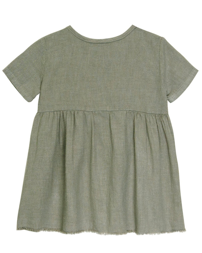 Little go gently nation girl short sleeve prairie dress in thyme