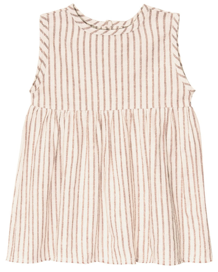 Little go gently nation girl sleeveless prairie dress in hazelnut stripe