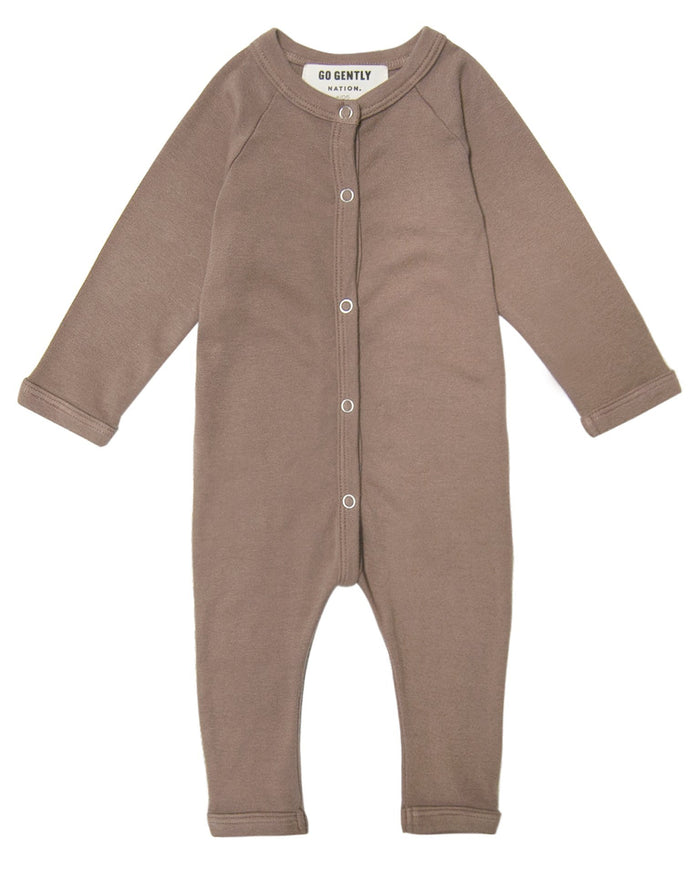 Little go gently nation baby boy solid romper in mud
