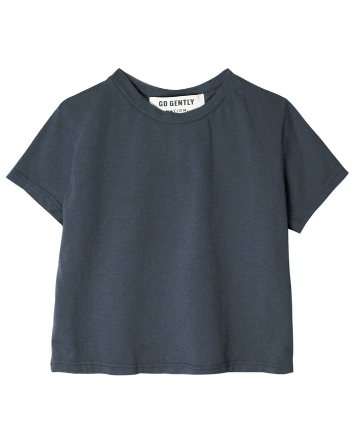 Little go gently nation girl solid tee in indigo