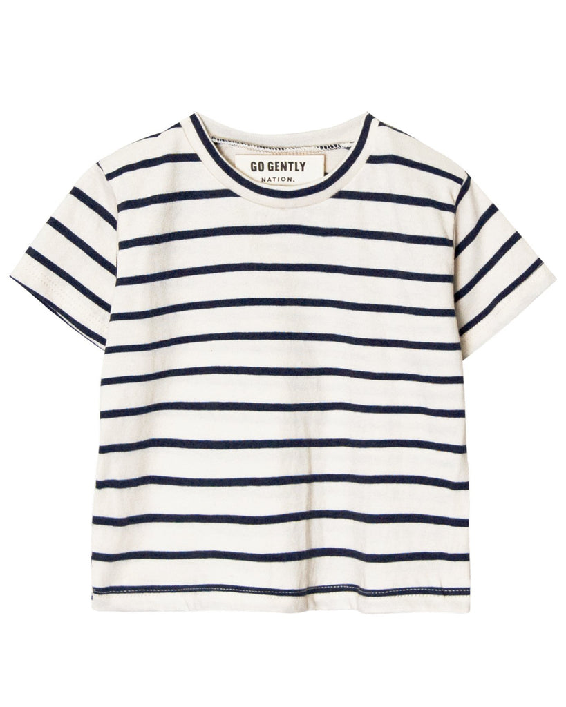 Little go gently nation girl solid tee in navy stripe
