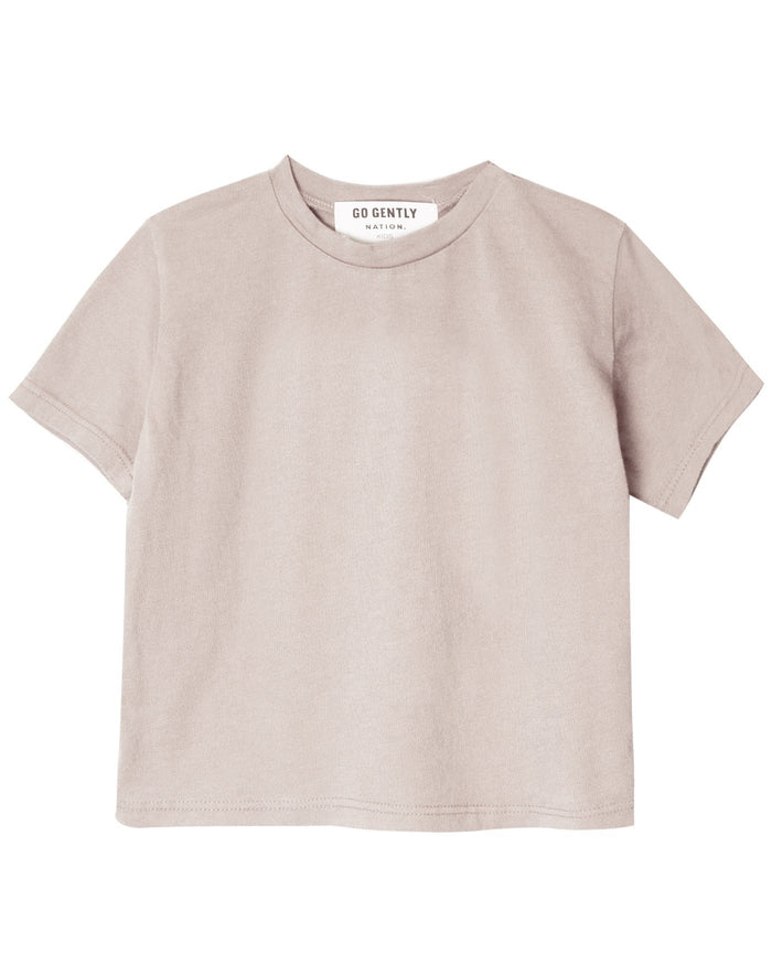 Little go gently nation girl solid tee in sandstone