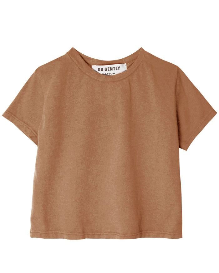 Little go gently nation girl solid tee in tanin