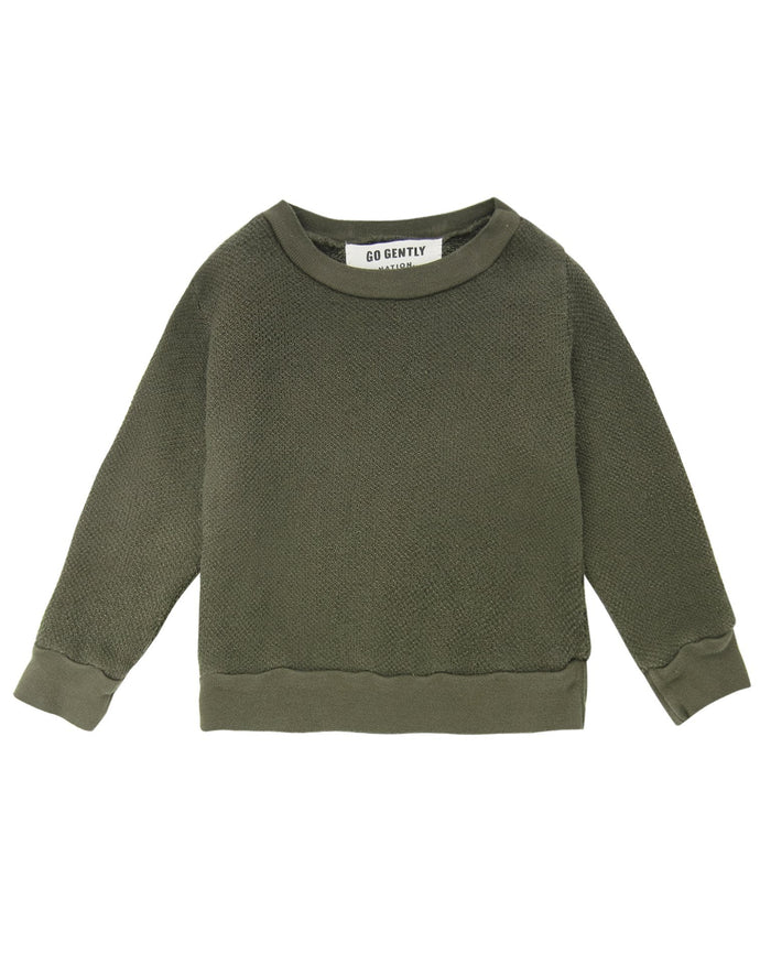 Little go gently nation boy textured crewneck in moss