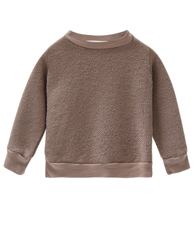 Little go gently nation boy textured crewneck in mud