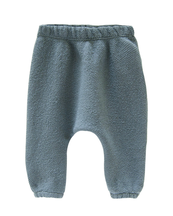 Little go gently nation baby boy textured french terry baby pant in rain