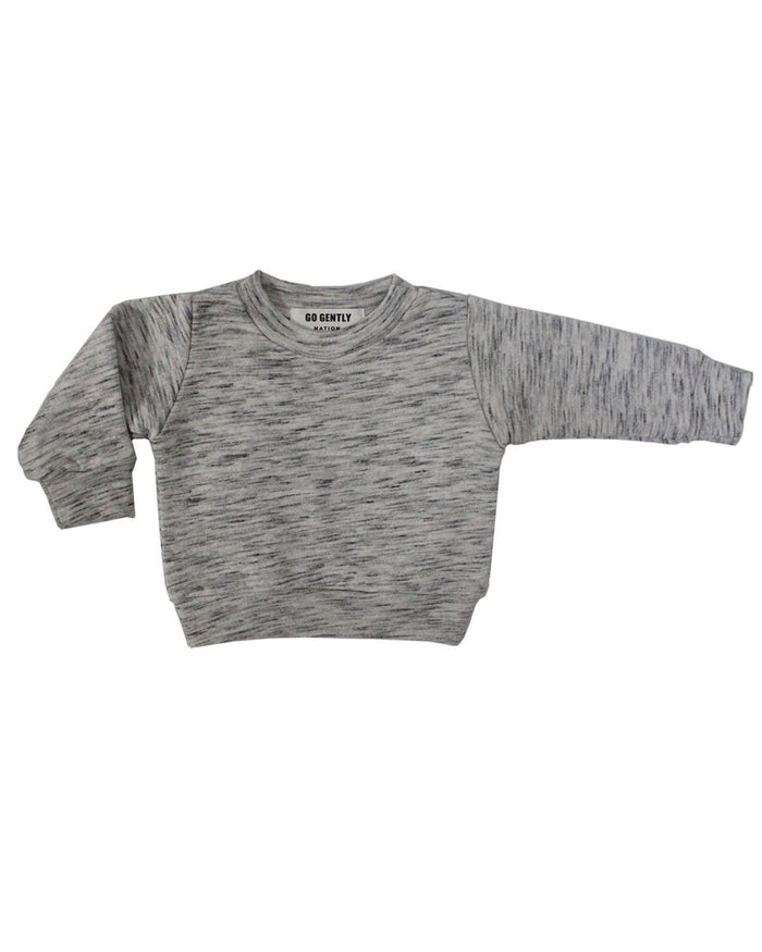 Little go gently nation boy 2 textured french terry crewneck in salt + pepper