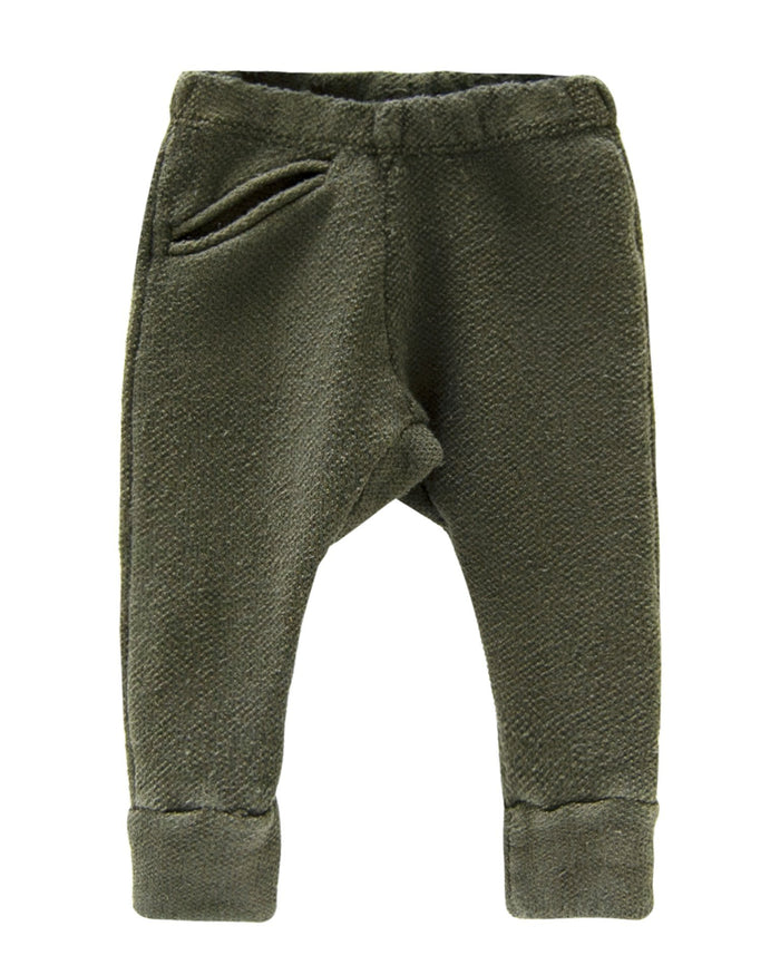 Little go gently nation boy textured jogger in moss