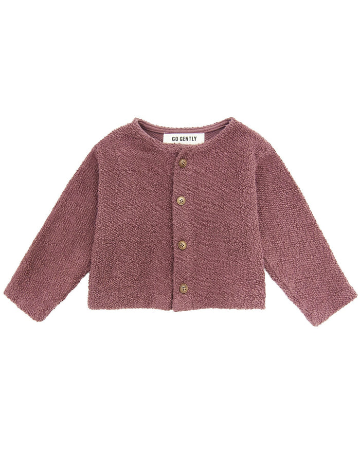Little go gently nation girl textured knit coat in berry