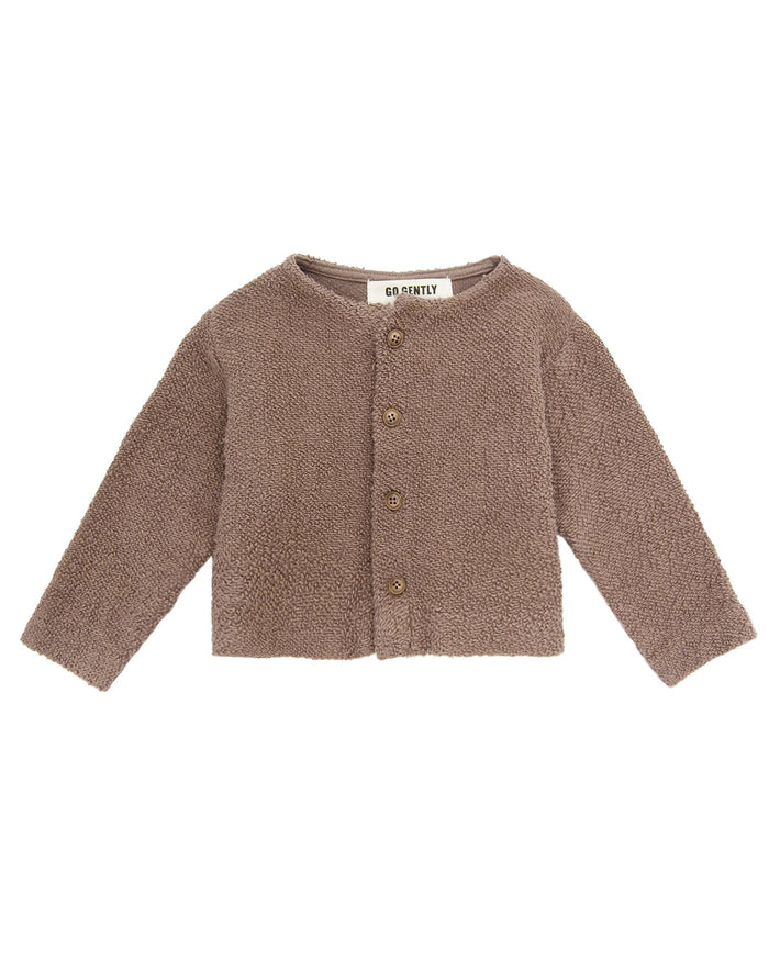 Little go gently nation girl textured knit coat in mud