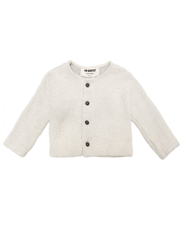 Little go gently nation girl textured knit coat in natural
