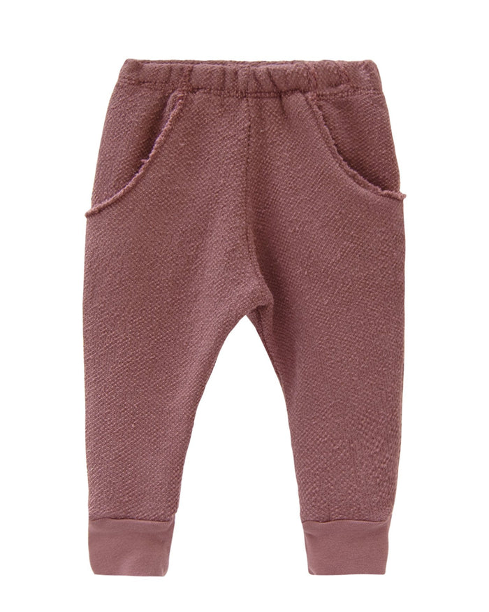 Little go gently nation girl textured raw pocket track pant in berry