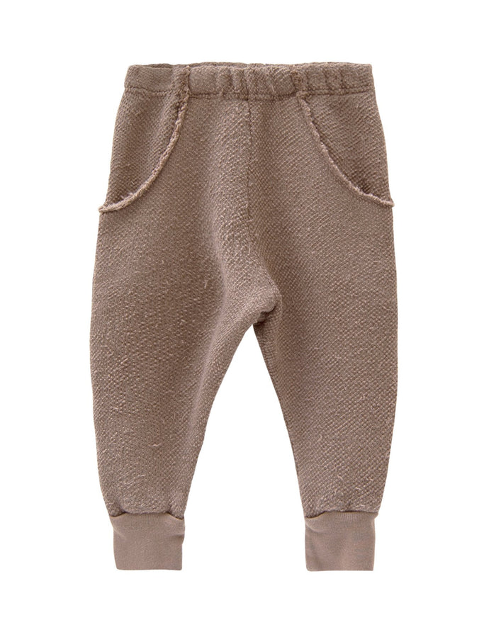 Little go gently nation boy textured raw pocket track pant in mud