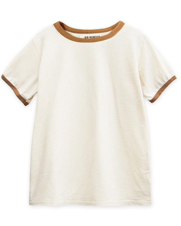 Little go gently nation boy 3-6 vintage tee in natural + adobe