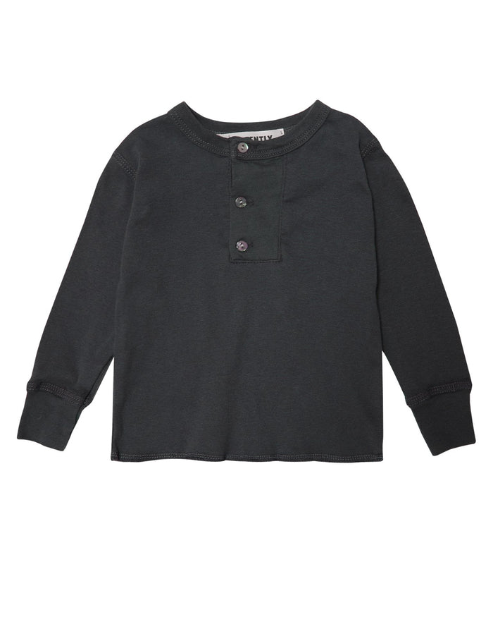 Little go gently nation boy wide placket henley in charcoal