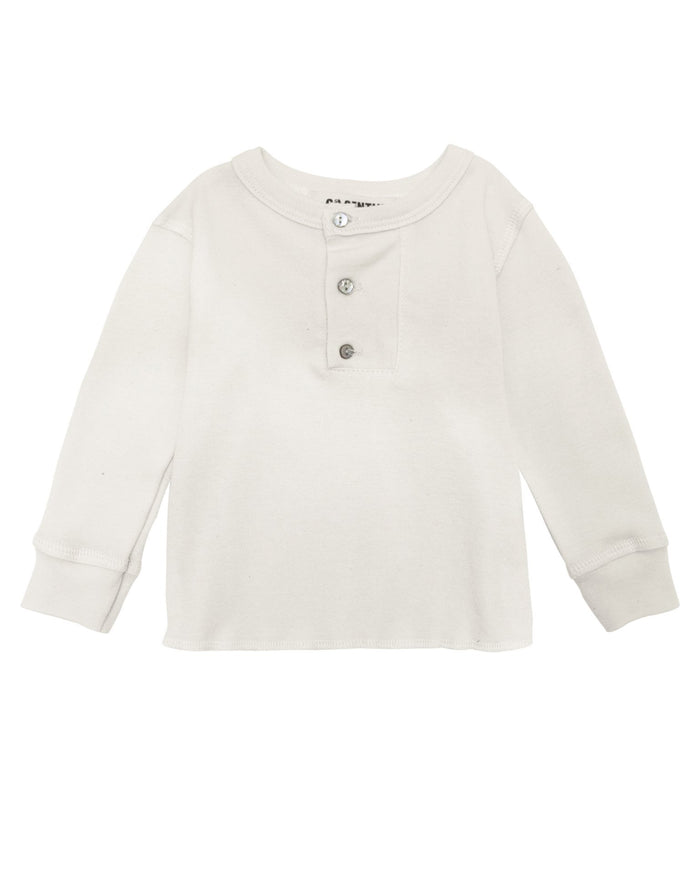 Little go gently nation boy wide placket henley in natural