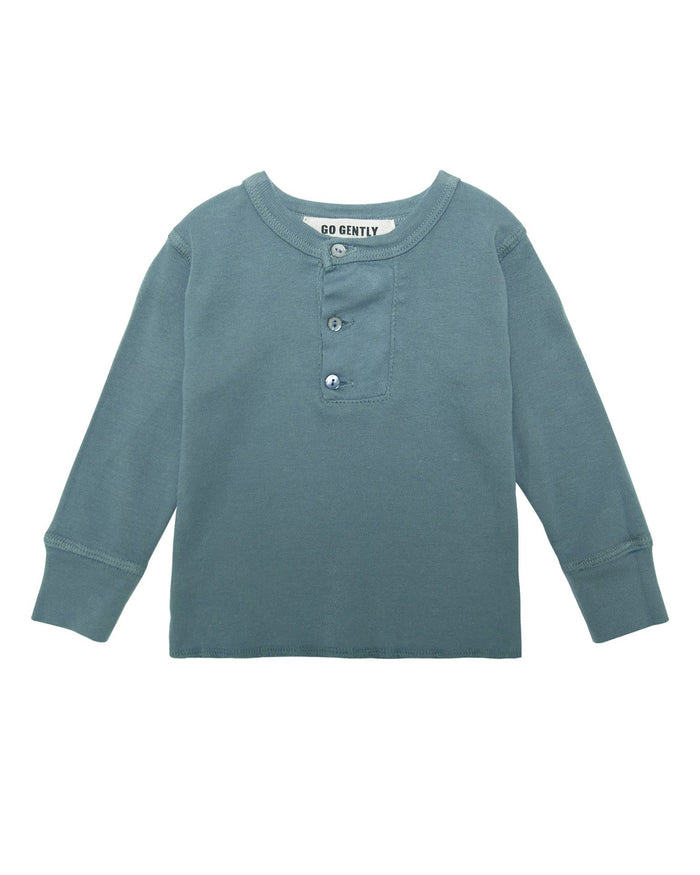 Little go gently nation boy wide placket henley in rain