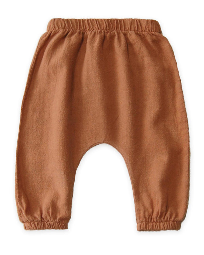 Little go gently nation baby boy 0-3 woven baby pant in adobe