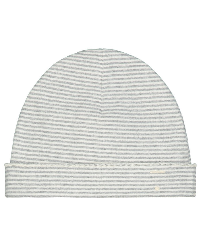 Little gray label baby accessories baby beanie in grey melange + cream stripe