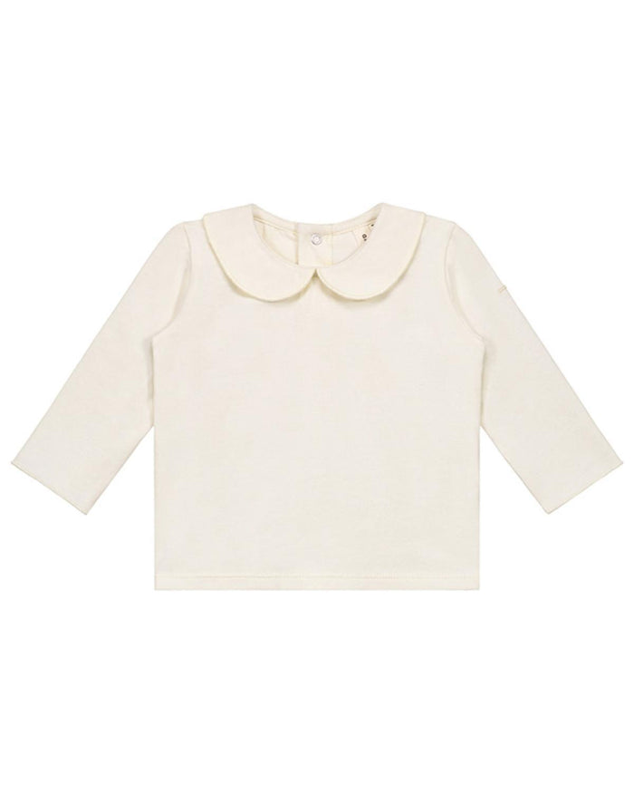 Little gray label layette 0-3 baby collar tee in cream