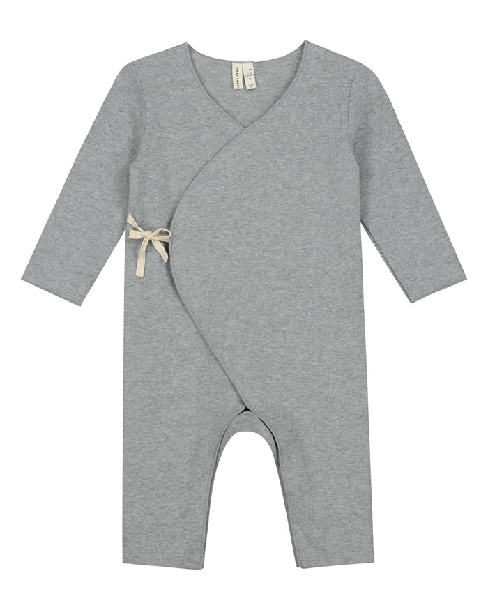 Little gray label baby boy baby cross over suit in grey melange