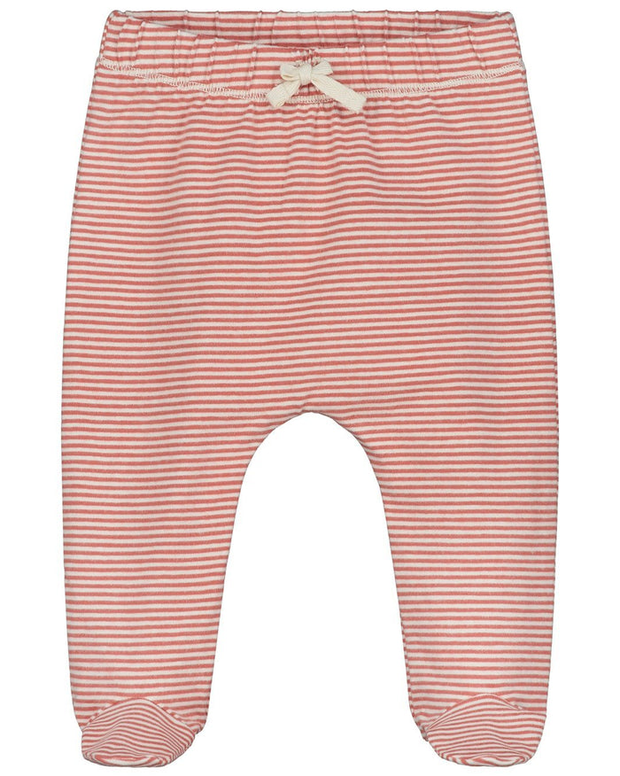 Little gray label baby boy baby footies in faded red + cream stripe