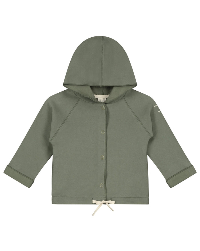 Little gray label baby boy baby hooded cardigan in moss