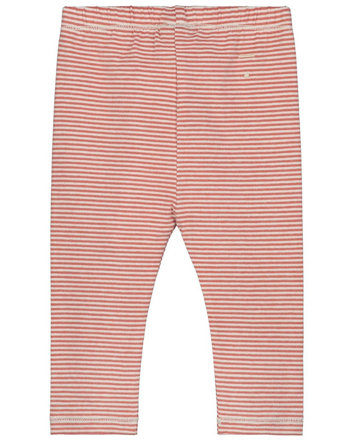 Little gray label baby boy baby leggings in faded red + cream stripe